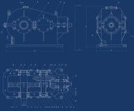 Mechanical sketch. 2d mechanical sketch on blue background royalty free illustration