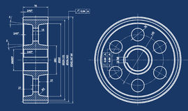 Mechanical sketch. And blue background royalty free illustration