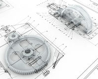 Mechanical sketch with gears Royalty Free Stock Image