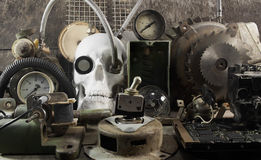 Mechanical skull and parts. Stock Image