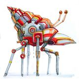 Mechanical snail red steampunk. Transport snail with a sink moves on thin legs stock illustration