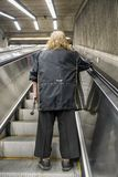 Mobile stairs of the metro. Mechanical Stairs in Montreal subway station called the metro stock photo