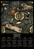 Mechanical steampunk grunge 2017 calendar design printable. Illustration Royalty Free Stock Image