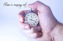 Mechanical stopwatch showing the passing time, the motivator.  stock images