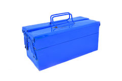 Mechanical tool box. Blue mechanical tool box on a white screen royalty free stock photography