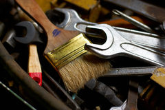 Mechanical tools. Group of randomly lying mechanical tools Stock Images