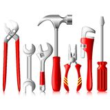 Mechanical Tools. Vector illustration of collection of tools against white Stock Photography
