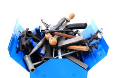 Mechanical tools in the box Royalty Free Stock Images