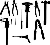 Mechanical tools silhouettes Royalty Free Stock Photos