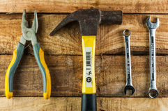 Mechanical tools. On wooden background Stock Photo