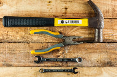Mechanical tools. On wooden background Stock Images