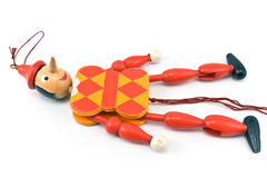 Mechanical toy on rope. On white Stock Photo