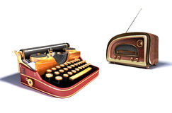 Mechanical typewriter and radio Royalty Free Stock Images