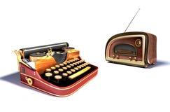 Mechanical typewriter and radio Royalty Free Stock Images