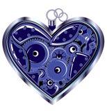 Mechanical Valentine heart. Blue Mechanical Valentine heart, illustration Stock Photo