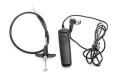 Mechanical vintage shutter release cable and shutter release cab Royalty Free Stock Photo