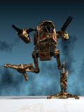Mechanical warrior. Illustration (3d render) of fantasy mechanical warrior Stock Images