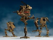 Mechanical warriors. Illustration (3d render) of fantasy mechanical warriors vector illustration