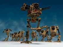 Mechanical warriors. Illustration (3d render) of fantasy mechanical warriors Royalty Free Stock Photography