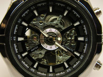 mechanical watch with black dial Stock Photos