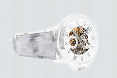 Mechanical Watch Concept With Visible Mechanism. Mechanical Watch Digital Concept With Visible Mechanism Royalty Free Stock Photography