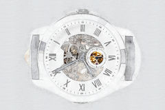 Mechanical Watch Concept With Visible Mechanism. Mechanical Watch Digital Concept With Visible Mechanism Stock Images