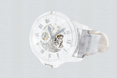Mechanical Watch Concept With Visible Mechanism. Mechanical Watch Digital Concept With Visible Mechanism Stock Image