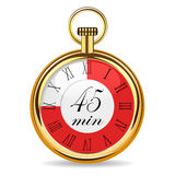Mechanical watch timer 45 minutes. Vector illustration isolated on white background Stock Photography