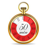Mechanical watch timer 50 minutes. Vector illustration isolated on white background Stock Photo