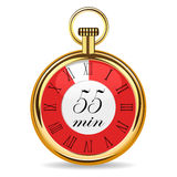 Mechanical watch timer 55 minutes. Vector illustration isolated on white background Stock Photography