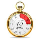 Mechanical watch timer 15 minutes. Vector illustration isolated on white background Royalty Free Illustration
