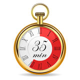 Mechanical watch timer 35 minutes. Vector illustration isolated on white background Stock Images
