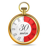 Mechanical watch timer 30 minutes. Vector illustration isolated on white background Stock Photography