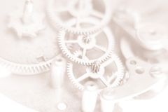 Mechanical watches. Mechanism very close up, blurred background for design Stock Images