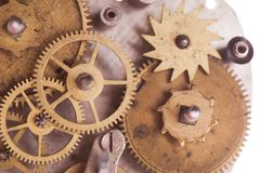 Mechanical watches. Vintage mechanical watches mechanism, close up gears Royalty Free Stock Photo