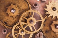Mechanical watches. Vintage mechanical watches mechanism, close up gears Stock Photo