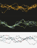 Mechanical wavy construction. Modern abstract vector illustration with connected dots. Wavy mechanical construction. Complexity of modern analytical systems Royalty Free Stock Photo