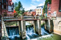 Mechanical weir. In Cottbus. Germany Royalty Free Stock Image