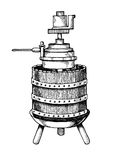 Mechanical wine press engraving vector stock illustration