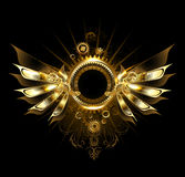 Mechanical wings. Shiny mechanical wings, with gears and brass round banner royalty free illustration