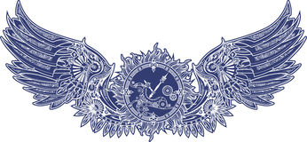 Mechanical wings in steampunk style with clockwork. Blue  Royalty Free Stock Photo
