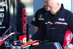 Mechanical working on Aprilia RSV4 1000 Factory with Aprilia Racing Team Superbike WSBK Stock Photography