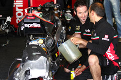 Mechanical working on Aprilia RSV4 1000 Factory with Aprilia Racing Team Superbike WSBK Stock Images