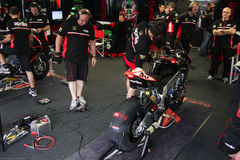 Mechanical working on Aprilia RSV4 1000 Factory with Aprilia Racing Team Superbike WSBK Royalty Free Stock Image