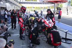 Mechanical working pit stop on Aprilia RSV4 1000 Factory with Aprilia Racing Team Superbike WSBK stock photography