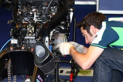 Mechanical working on Suzuki GSX-R1000 Team Fixi Crescent Suzuki Superbike WSBK Stock Photography