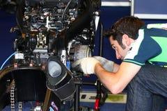Mechanical working on Suzuki GSX-R1000 Team Fixi Crescent Suzuki Superbike WSBK Stock Photography