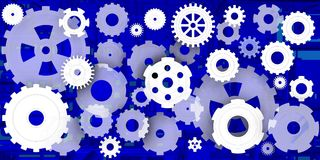 Mechanical world in blue composition. Dinamic and machanical image in different environments, Blue and white n this case Royalty Free Stock Photography