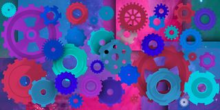 Mechanical world in colorist composition. Dinamic and machanical image in different environments, Colorist in this case Stock Image
