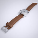 Mechanical wristwatch with a leather strap Royalty Free Stock Image